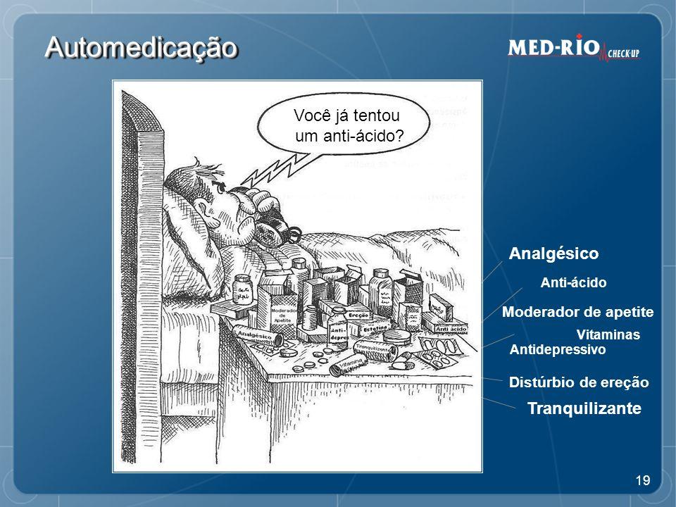 19 AutomedicaçãoAutomedicação Analgésico Moderador de apetite Anti-ácido Antidepressivo Vitaminas Distúrbio de ereção Tranquilizante Você já tentou um anti-ácido?