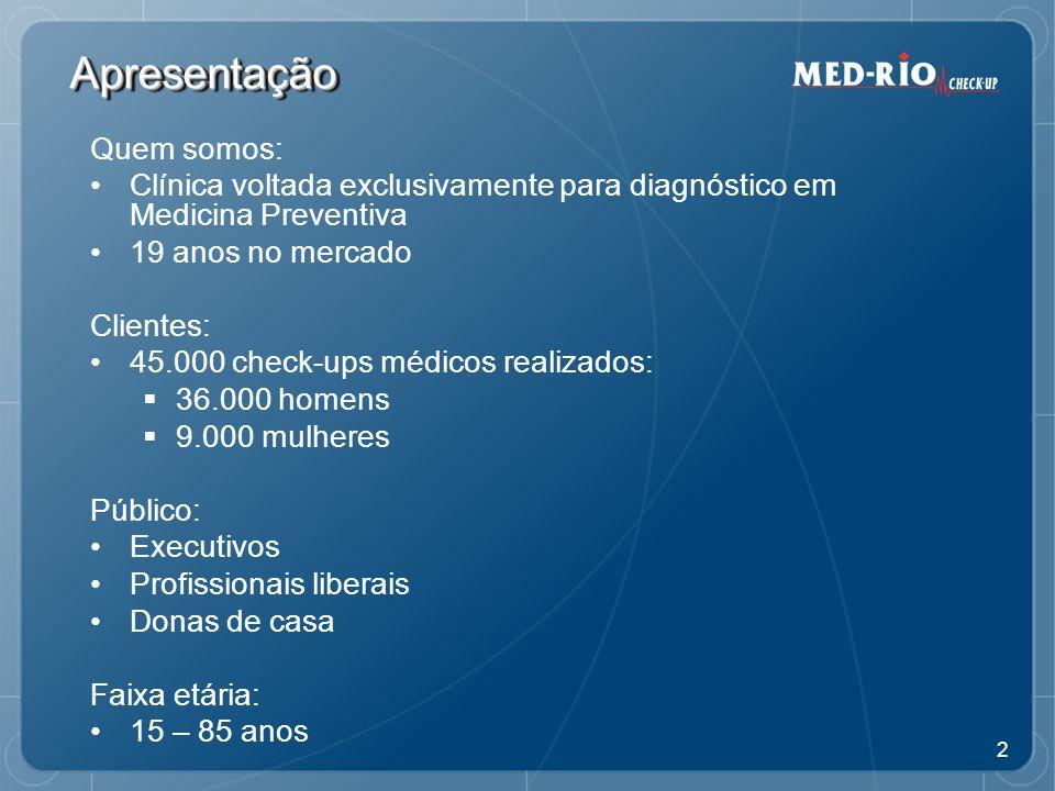 3 ApresentaçãoApresentação Nosso objetivo: Promover saúde Nossa ferramenta: CHECK-UP MÉDICO UM PRODUTO TANGÍVEL O CAMINHO PARA A BOA GESTÃO DA SAÚDE