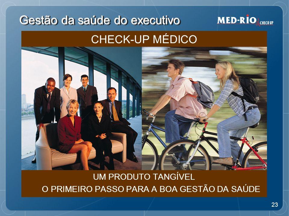 23 Gestão da saúde do executivo UM PRODUTO TANGÍVEL O PRIMEIRO PASSO PARA A BOA GESTÃO DA SAÚDE CHECK-UP MÉDICO