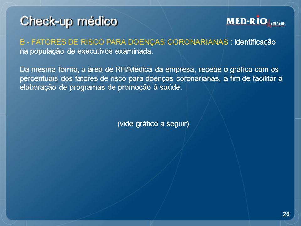 26 Check-up médico B - FATORES DE RISCO PARA DOENÇAS CORONARIANAS : identificação na população de executivos examinada.