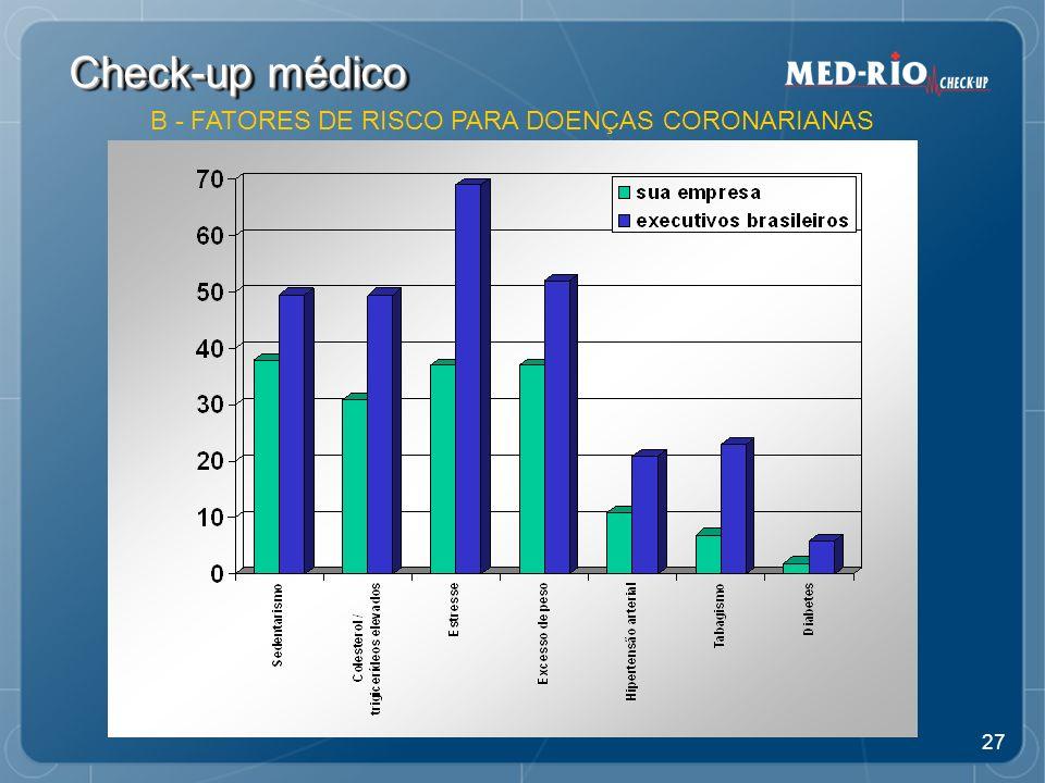 27 Check-up médico B - FATORES DE RISCO PARA DOENÇAS CORONARIANAS