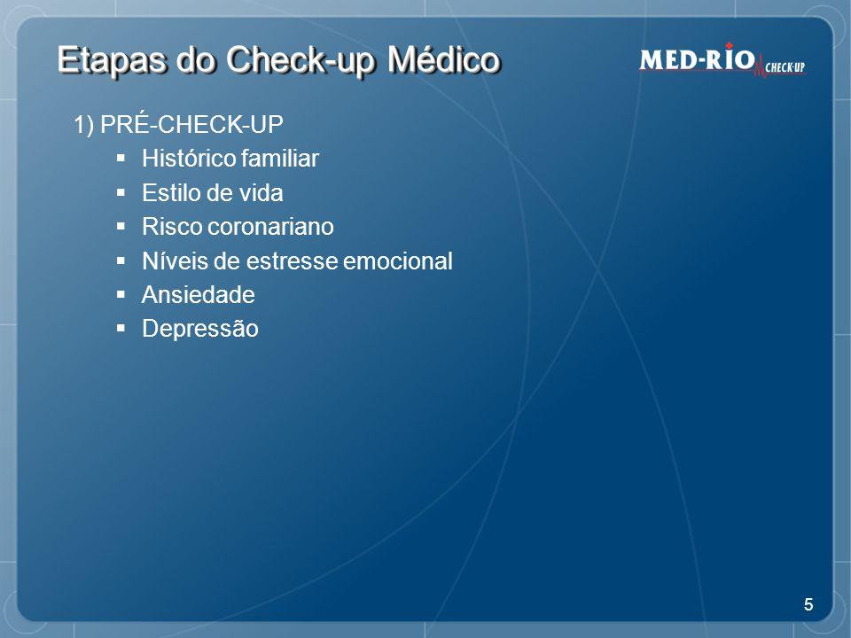 6 Etapas do Check-up Médico 2) CHECK-UP MÉDICO Avaliações físicas em várias especialidades Exames complementares: imagens, traçados gráficos e laboratórios