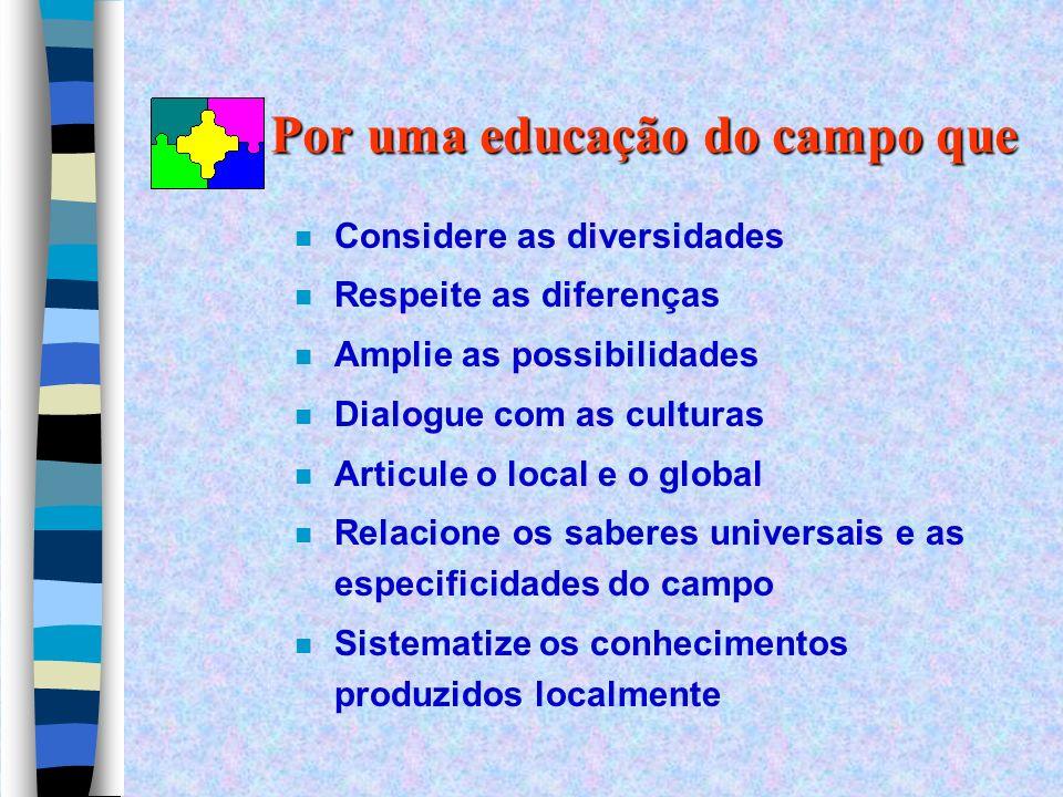 Por uma educação do campo que n Considere as diversidades n Respeite as diferenças n Amplie as possibilidades n Dialogue com as culturas n Articule o