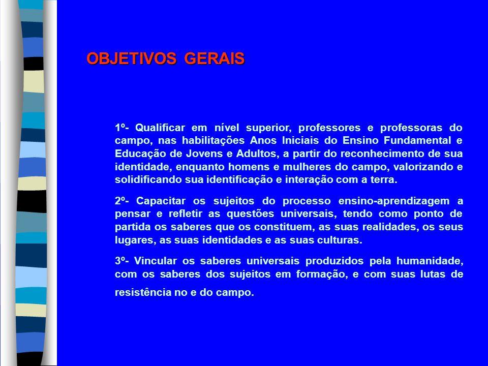 OBJETIVOS GERAIS 1º- Qualificar em nível superior, professores e professoras do campo, nas habilitações Anos Iniciais do Ensino Fundamental e Educação