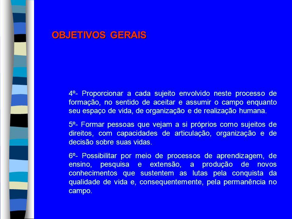 OBJETIVOS GERAIS 4º- Proporcionar a cada sujeito envolvido neste processo de formação, no sentido de aceitar e assumir o campo enquanto seu espaço de