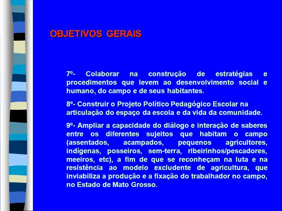 OBJETIVOS GERAIS 7º- Colaborar na construção de estratégias e procedimentos que levem ao desenvolvimento social e humano, do campo e de seus habitante