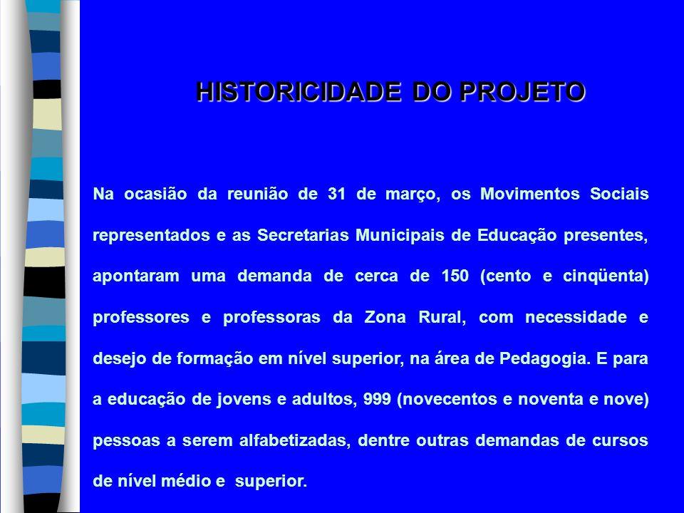 HISTORICIDADE DO PROJETO Na ocasião da reunião de 31 de março, os Movimentos Sociais representados e as Secretarias Municipais de Educação presentes,