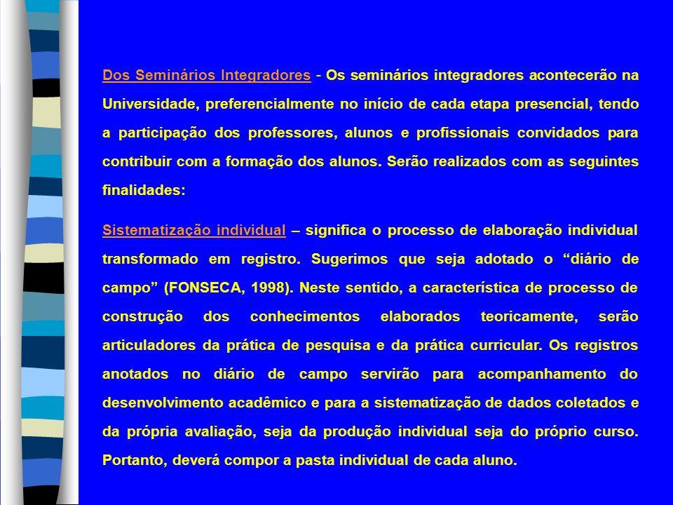 Dos Seminários Integradores - Os seminários integradores acontecerão na Universidade, preferencialmente no início de cada etapa presencial, tendo a pa