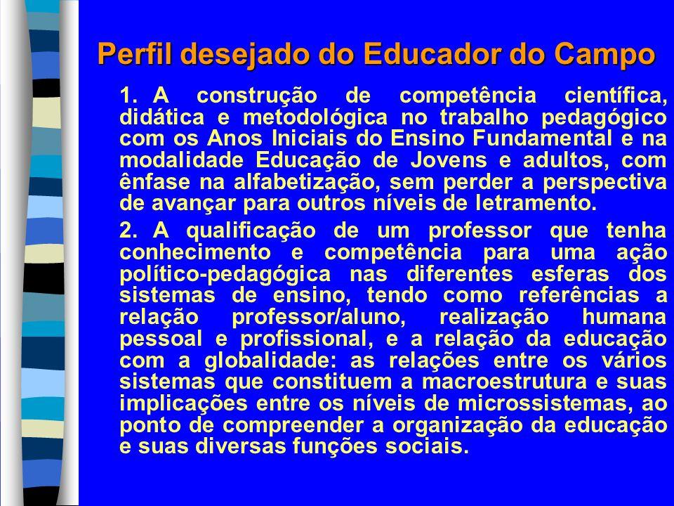 Perfil desejado do Educador do Campo 1.A construção de competência científica, didática e metodológica no trabalho pedagógico com os Anos Iniciais do