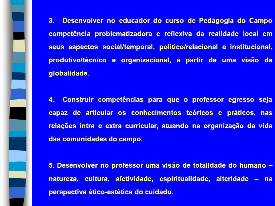 3.Desenvolver no educador do curso de Pedagogia do Campo competência problematizadora e reflexiva da realidade local em seus aspectos social/temporal,