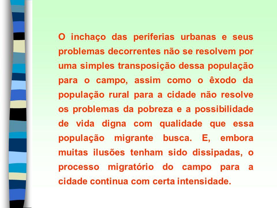 O inchaço das periferias urbanas e seus problemas decorrentes não se resolvem por uma simples transposição dessa população para o campo, assim como o