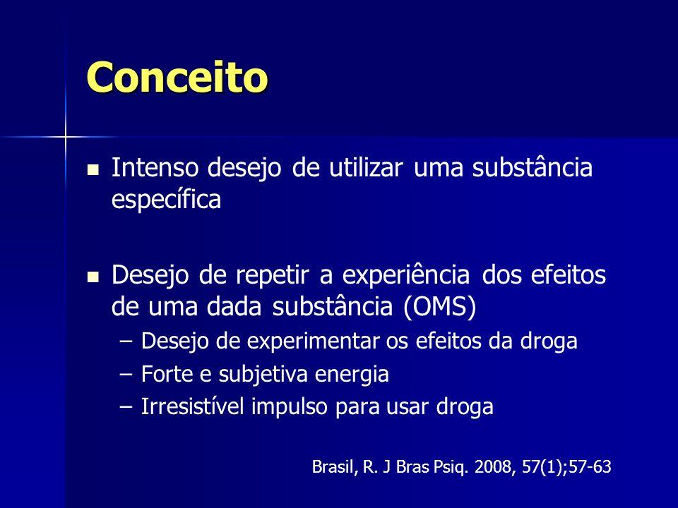 Conceito Intenso desejo de utilizar uma substância específica Desejo de repetir a experiência dos efeitos de uma dada substância (OMS) – –Desejo de ex