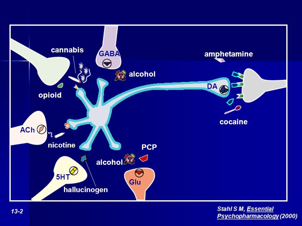 GABA alcohol nicotine ACh alcohol PCP Glu DA 13-2 Stahl S M, Essential Psychopharmacology (2000) amphetamine cocaine opioid cannabis hallucinogen 5HT
