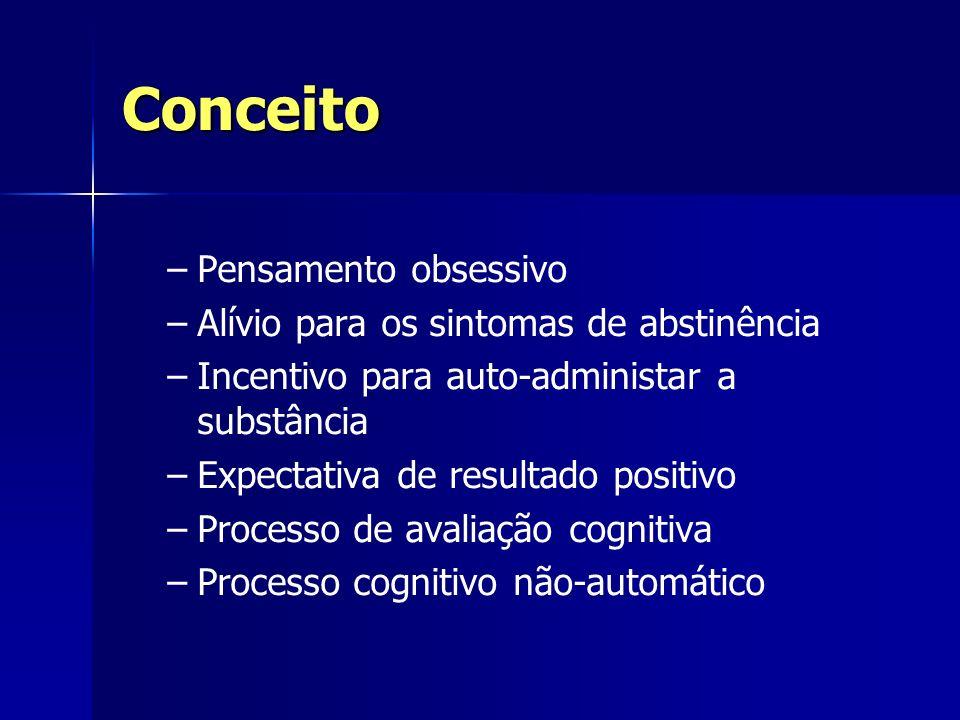 Conceito – –Pensamento obsessivo – –Alívio para os sintomas de abstinência – –Incentivo para auto-administar a substância – –Expectativa de resultado