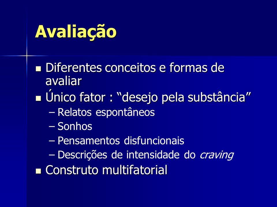 Avaliação Diferentes conceitos e formas de avaliar Diferentes conceitos e formas de avaliar Único fator : desejo pela substância Único fator : desejo