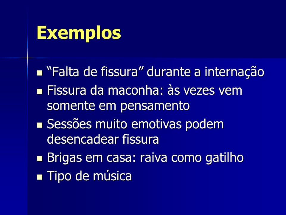 Exemplos Falta de fissura durante a internação Falta de fissura durante a internação Fissura da maconha: às vezes vem somente em pensamento Fissura da