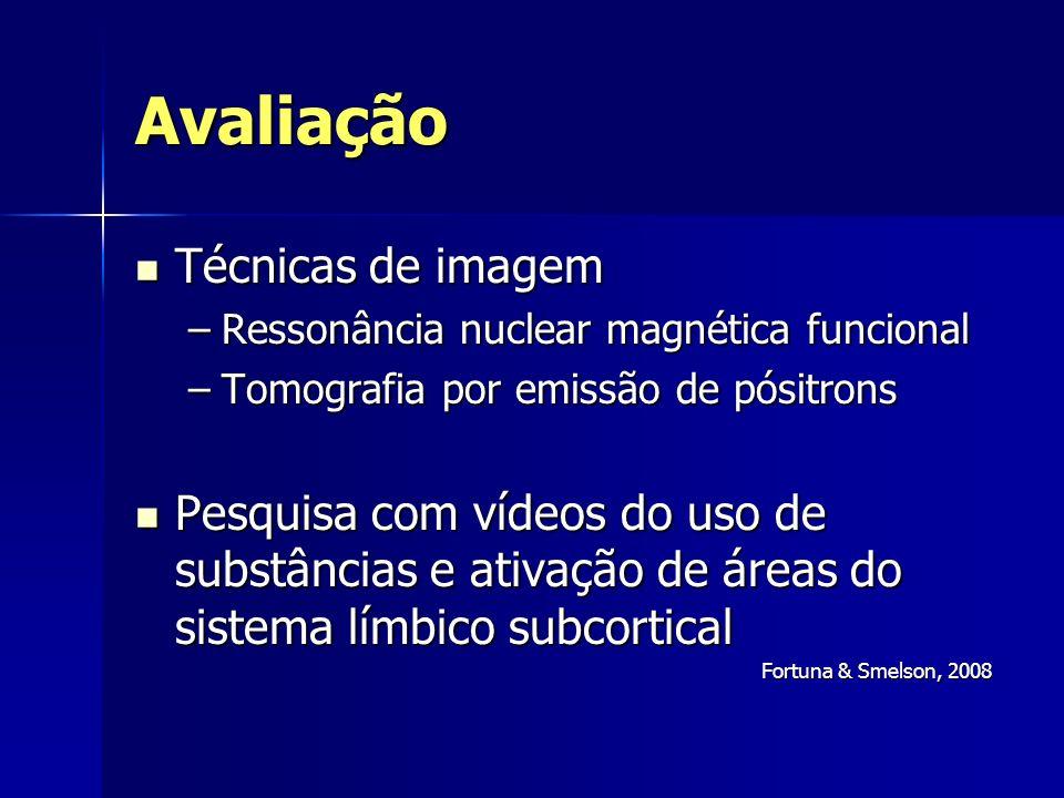 Avaliação Técnicas de imagem Técnicas de imagem –Ressonância nuclear magnética funcional –Tomografia por emissão de pósitrons Pesquisa com vídeos do u