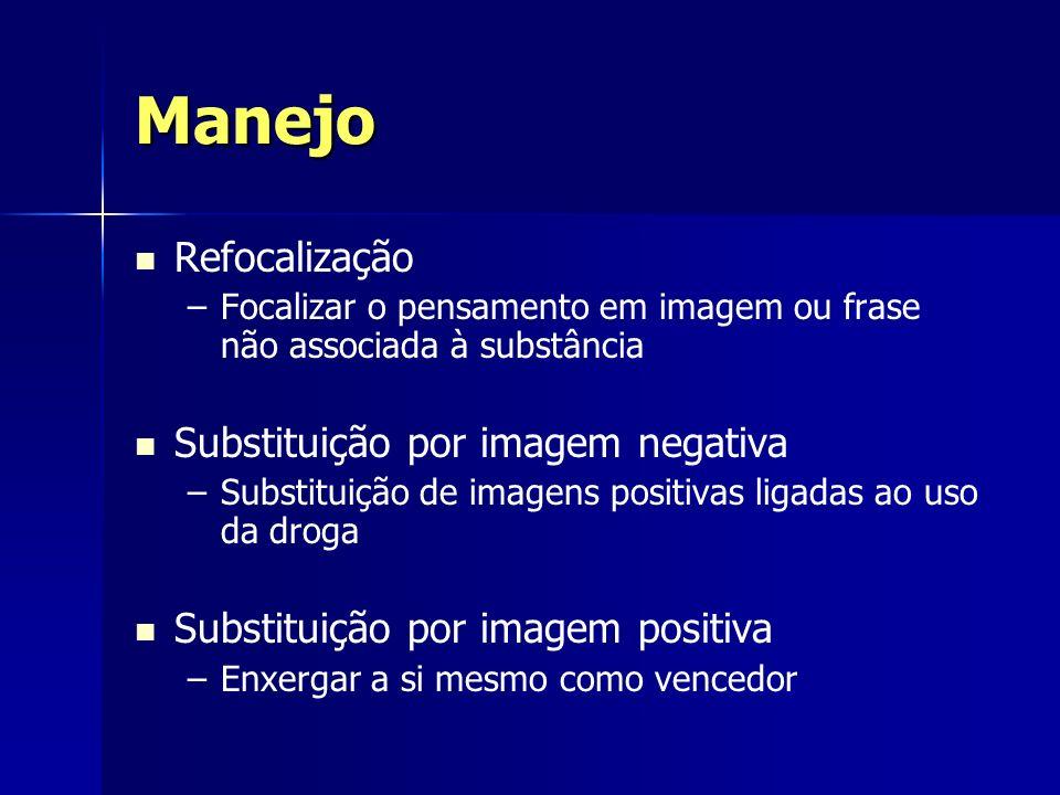 Manejo Refocalização – –Focalizar o pensamento em imagem ou frase não associada à substância Substituição por imagem negativa – –Substituição de image