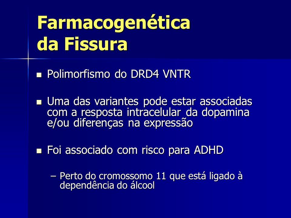 Farmacogenética da Fissura Polimorfismo do DRD4 VNTR Polimorfismo do DRD4 VNTR Uma das variantes pode estar associadas com a resposta intracelular da