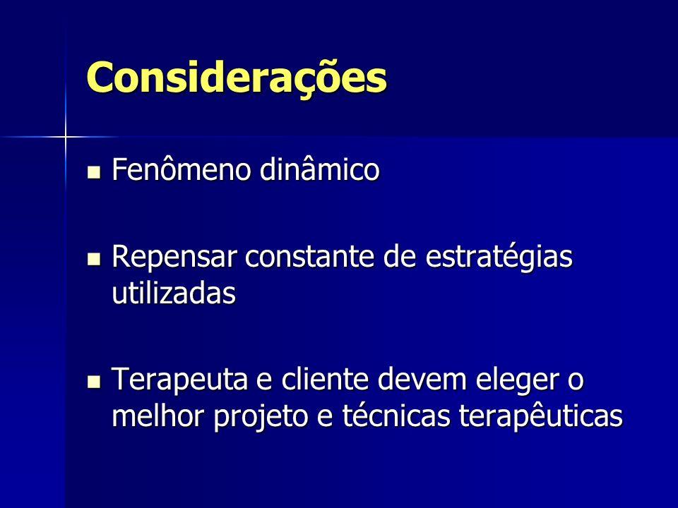 Considerações Fenômeno dinâmico Fenômeno dinâmico Repensar constante de estratégias utilizadas Repensar constante de estratégias utilizadas Terapeuta