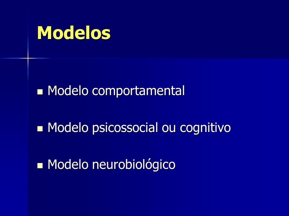 Modelos Modelo comportamental Modelo comportamental Modelo psicossocial ou cognitivo Modelo psicossocial ou cognitivo Modelo neurobiológico Modelo neu