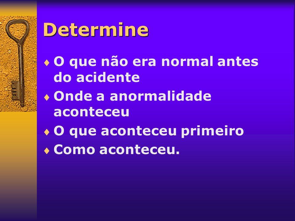 Determine O que não era normal antes do acidente Onde a anormalidade aconteceu O que aconteceu primeiro Como aconteceu.