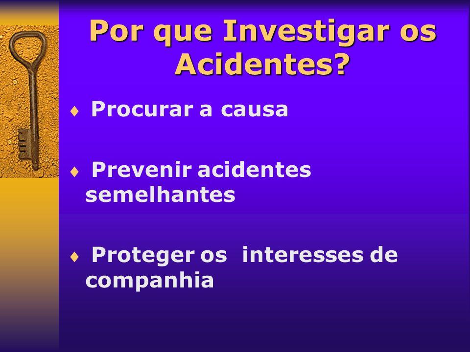 Por que Investigar os Acidentes? Procurar a causa Prevenir acidentes semelhantes Proteger os interesses de companhia