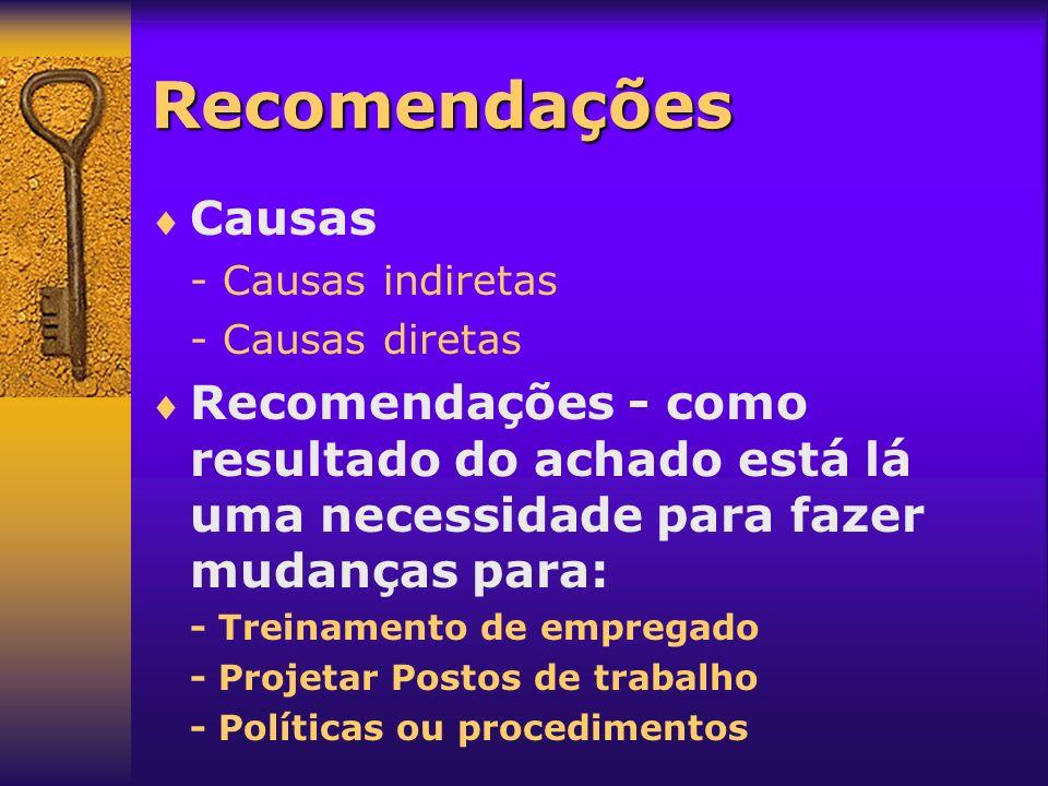 Recomendações Causas - Causas indiretas - Causas diretas Recomendações - como resultado do achado está lá uma necessidade para fazer mudanças para: -