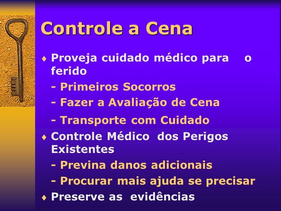 Controle a Cena Proveja cuidado médico para o ferido - Primeiros Socorros - Fazer a Avaliação de Cena - Transporte com Cuidado Controle Médico dos Per