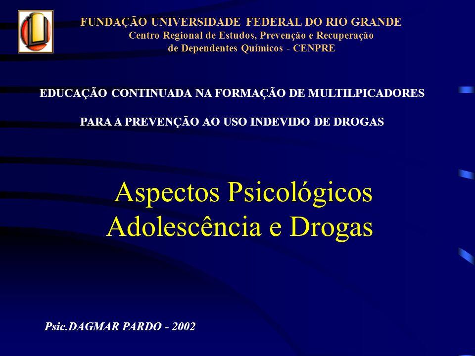Aspectos Psicológicos Adolescência e Drogas Psic.DAGMAR PARDO - 2002 EDUCAÇÃO CONTINUADA NA FORMAÇÃO DE MULTILPICADORES PARA A PREVENÇÃO AO USO INDEVI