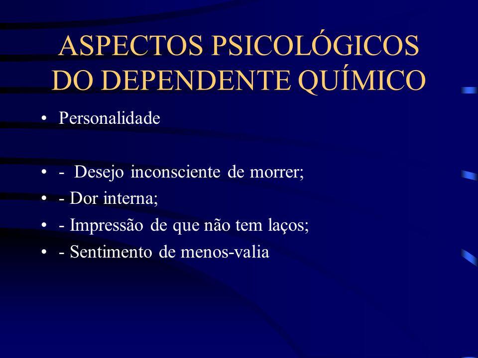 ASPECTOS PSICOLÓGICOS DO DEPENDENTE QUÍMICO Personalidade - Desejo inconsciente de morrer; - Dor interna; - Impressão de que não tem laços; - Sentimen