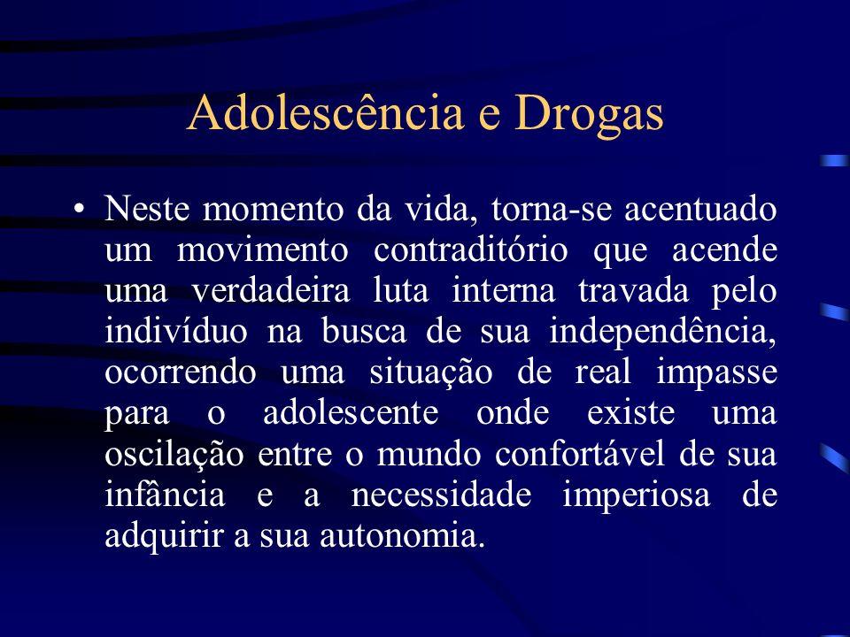 Adolescência e Drogas Neste momento da vida, torna-se acentuado um movimento contraditório que acende uma verdadeira luta interna travada pelo indivíd