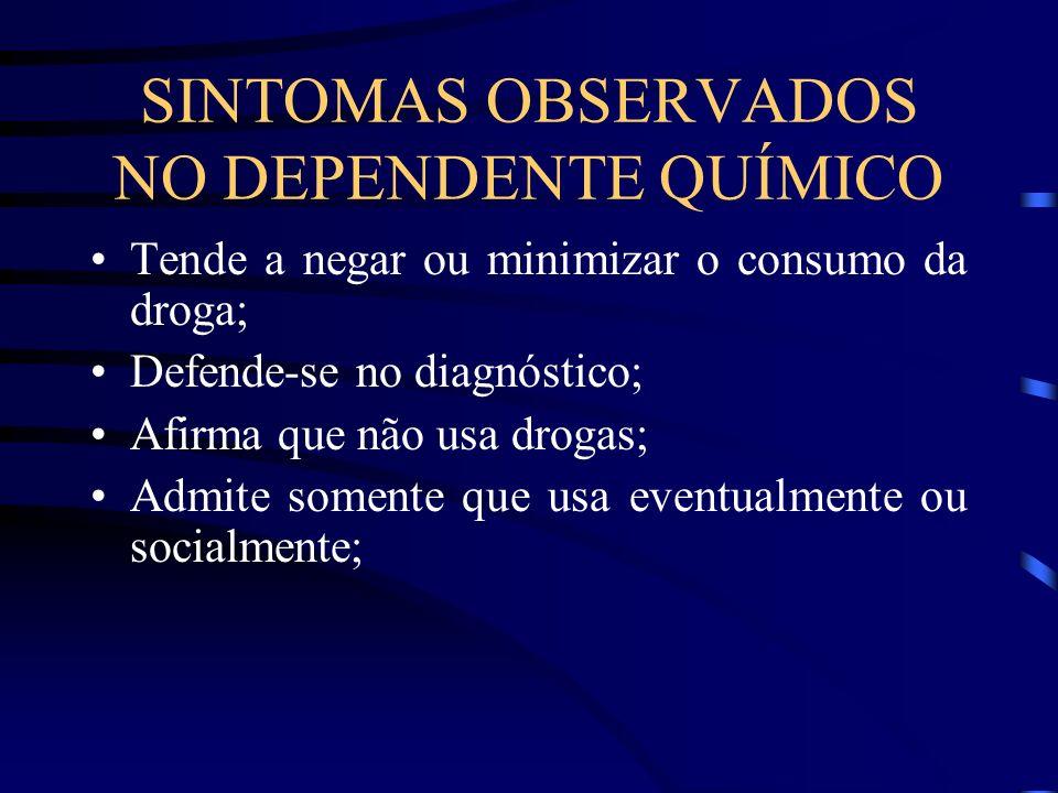 SINTOMAS OBSERVADOS NO DEPENDENTE QUÍMICO Tende a negar ou minimizar o consumo da droga; Defende-se no diagnóstico; Afirma que não usa drogas; Admite