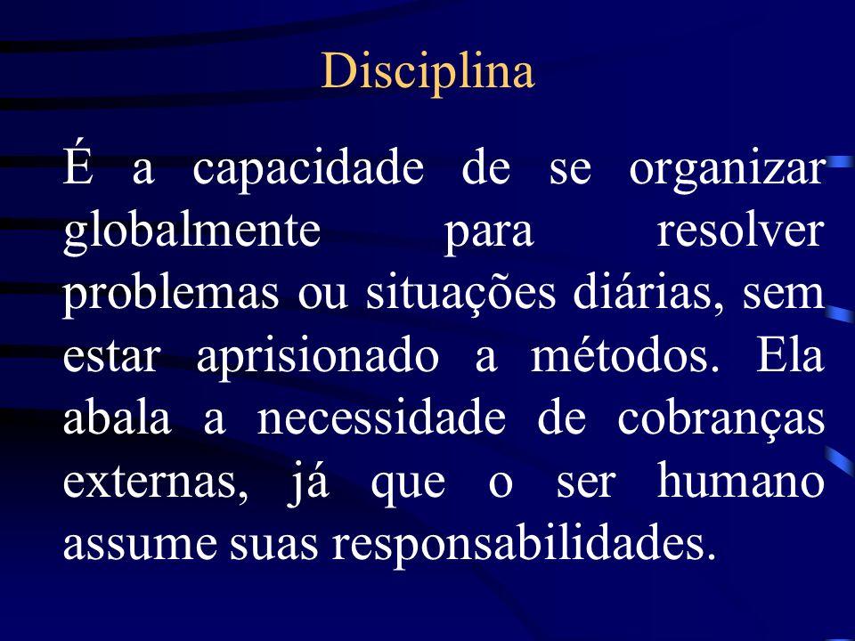 Disciplina É a capacidade de se organizar globalmente para resolver problemas ou situações diárias, sem estar aprisionado a métodos. Ela abala a neces