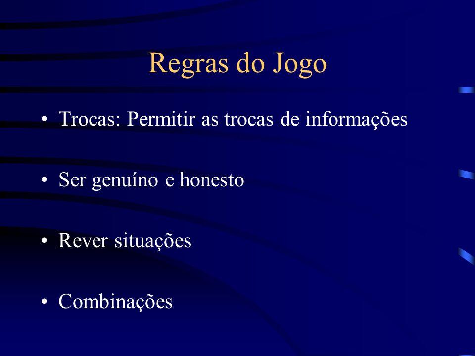 Regras do Jogo Trocas: Permitir as trocas de informações Ser genuíno e honesto Rever situações Combinações