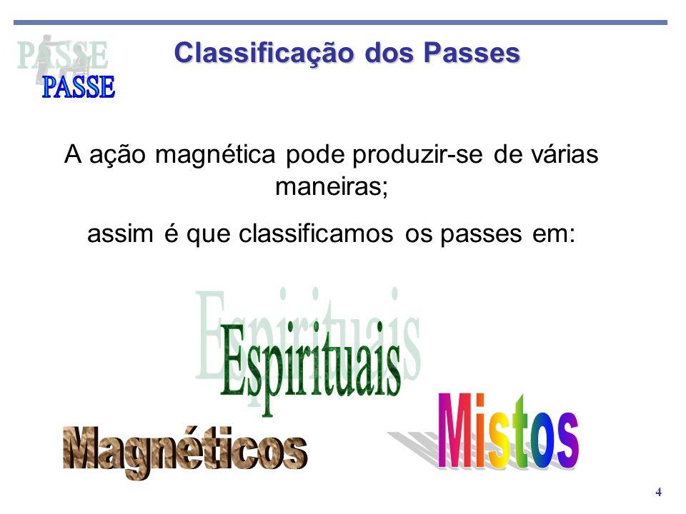 4 A ação magnética pode produzir-se de várias maneiras; assim é que classificamos os passes em: Classificação dos Passes