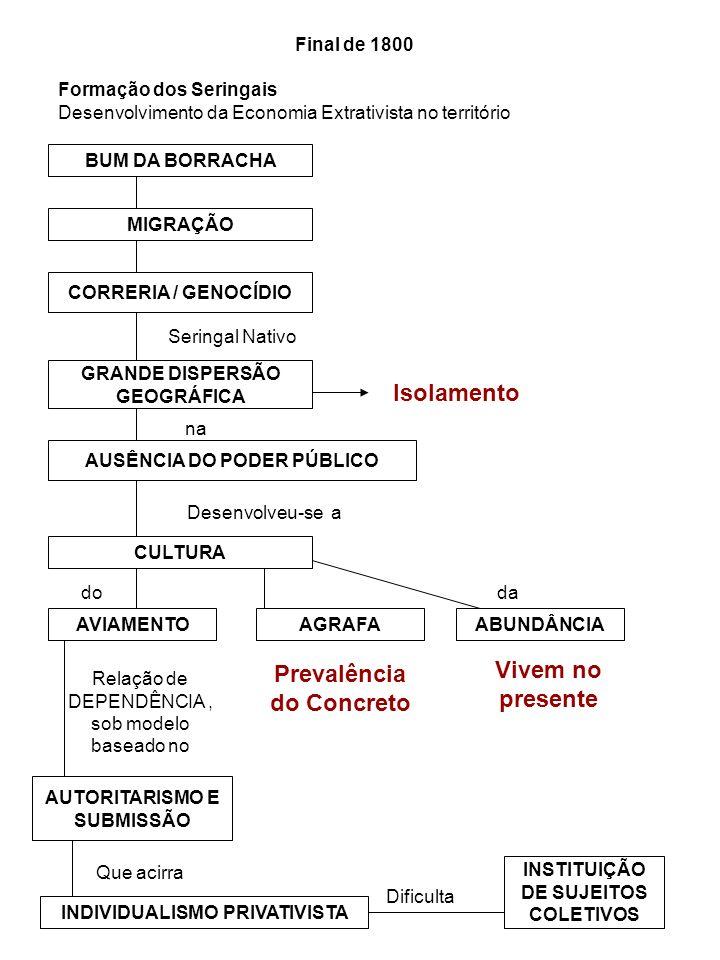 Final de 1800 BUM DA BORRACHA Formação dos Seringais Desenvolvimento da Economia Extrativista no território MIGRAÇÃO CORRERIA / GENOCÍDIO GRANDE DISPE
