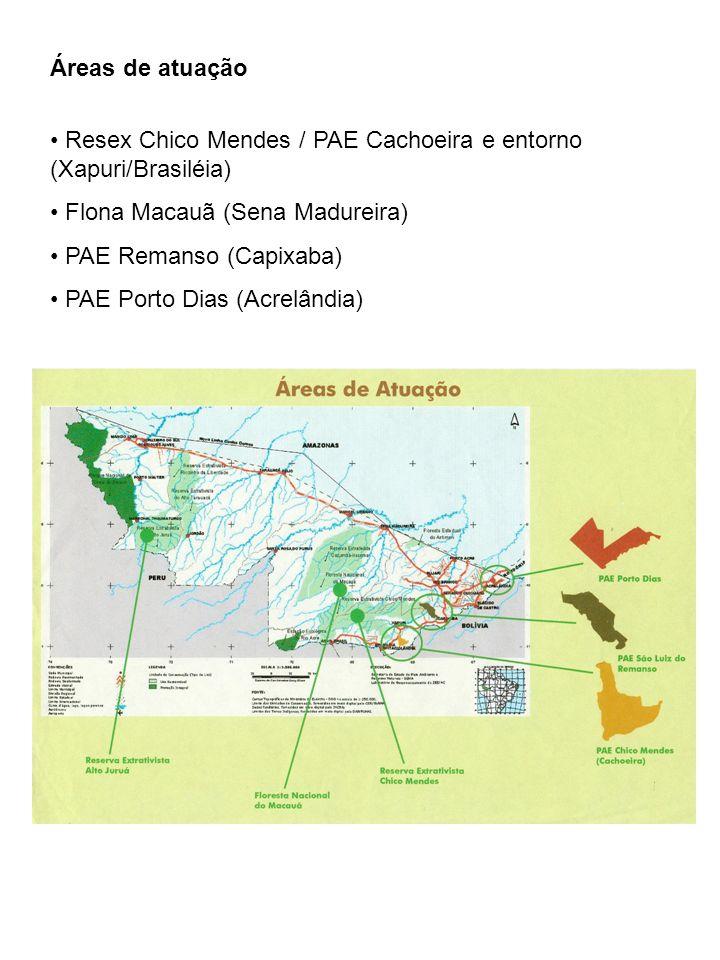 Áreas de atuação Resex Chico Mendes / PAE Cachoeira e entorno (Xapuri/Brasiléia) Flona Macauã (Sena Madureira) PAE Remanso (Capixaba) PAE Porto Dias (