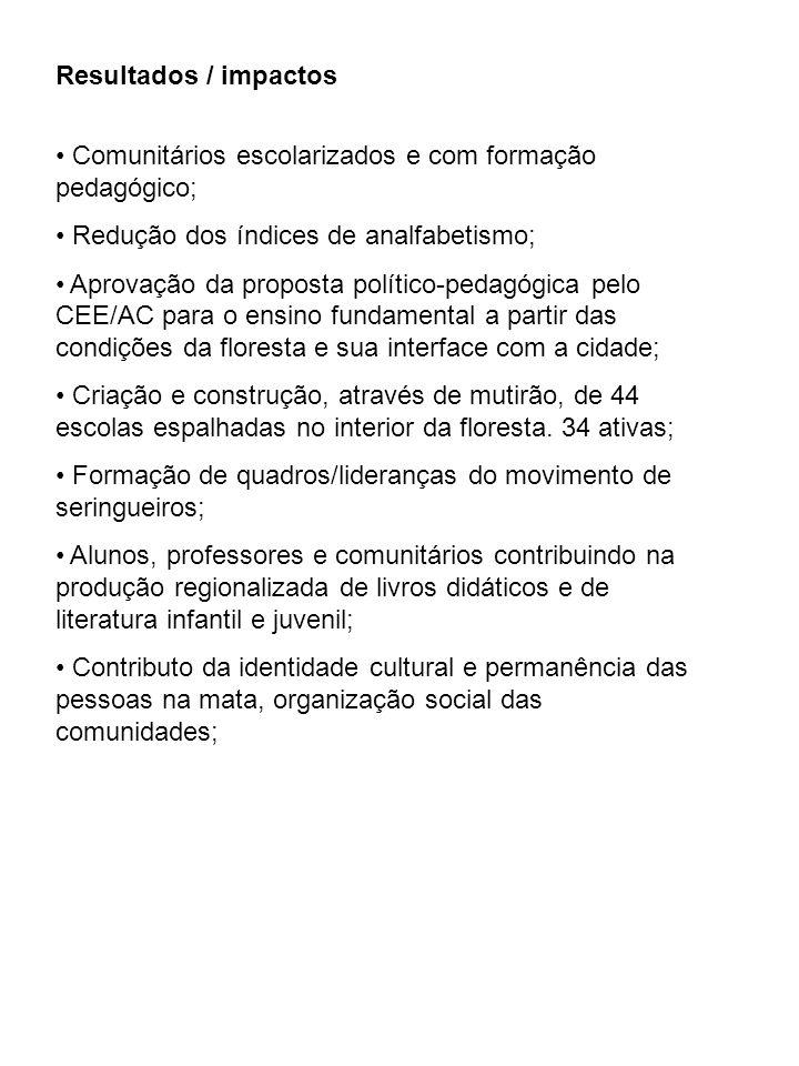 Resultados / impactos Comunitários escolarizados e com formação pedagógico; Redução dos índices de analfabetismo; Aprovação da proposta político-pedag