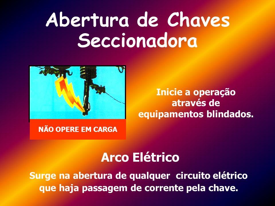 Abertura de Chaves Seccionadora Inicie a operação através de equipamentos blindados. Arco Elétrico Surge na abertura de qualquer circuito elétrico que