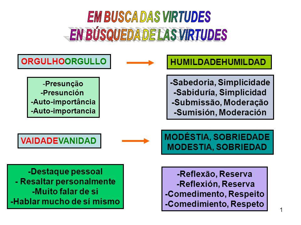 1 ORGULHOORGULLO HUMILDADEHUMILDAD -Presunção -Presunción -Auto-importância -Auto-importancia -Sabedoria, Simplicidade -Sabiduría, Simplicidad -Submis