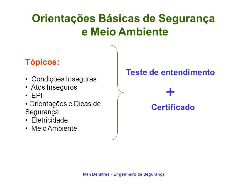 Ivan Demitres - Engenheiro de Segurança Teste de entendimento + Certificado Tópicos: Condições Inseguras Atos Inseguros EPI Orientações e Dicas de Seg