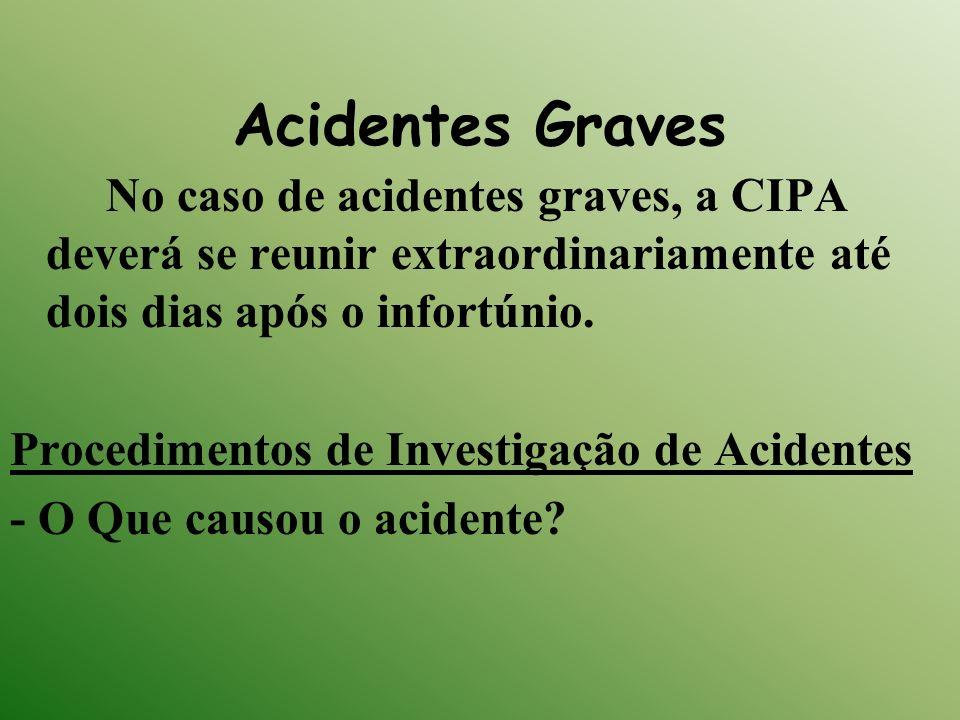 Acidentes Graves No caso de acidentes graves, a CIPA deverá se reunir extraordinariamente até dois dias após o infortúnio. Procedimentos de Investigaç