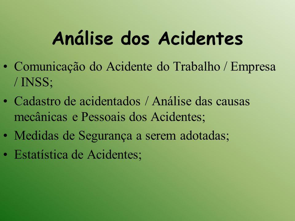 Análise dos Acidentes Comunicação do Acidente do Trabalho / Empresa / INSS; Cadastro de acidentados / Análise das causas mecânicas e Pessoais dos Acid