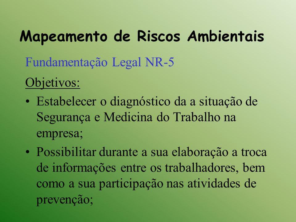 Mapeamento de Riscos Ambientais Fundamentação Legal NR-5 Objetivos: Estabelecer o diagnóstico da a situação de Segurança e Medicina do Trabalho na emp