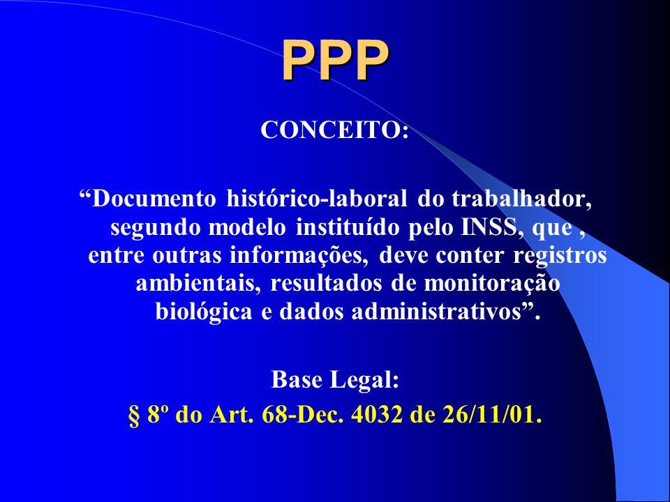 EVOLUÇÃO: Tendo como origem o perfil profissiográfico objeto do § 6º do Art. 68 do Dec. 3048, de 06/05/99, o PPP uma vez instituído e com modelo defin