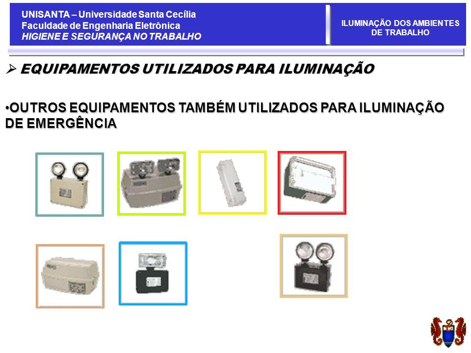 UNISANTA – Universidade Santa Cecília Faculdade de Engenharia Eletrônica HIGIENE E SEGURANÇA NO TRABALHO ILUMINAÇÃO DOS AMBIENTES DE TRABALHO EQUIPAMENTOS UTILIZADOS PARA ILUMINAÇÃO EQUIPAMENTOS UTILIZADOS PARA ILUMINAÇÃO OUTROS EQUIPAMENTOS TAMBÉM UTILIZADOS PARA ILUMINAÇÃO DE EMERGÊNCIAOUTROS EQUIPAMENTOS TAMBÉM UTILIZADOS PARA ILUMINAÇÃO DE EMERGÊNCIA