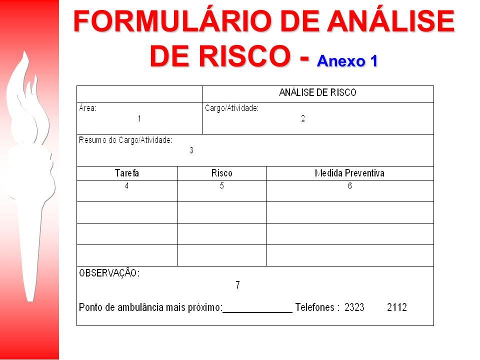 FORMULÁRIO DE ANÁLISE DE RISCO - Anexo 1