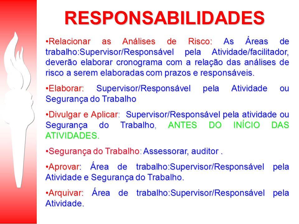 Relacionar as Análises de Risco: As Áreas de trabalho:Supervisor/Responsável pela Atividade/facilitador, deverão elaborar cronograma com a relação das