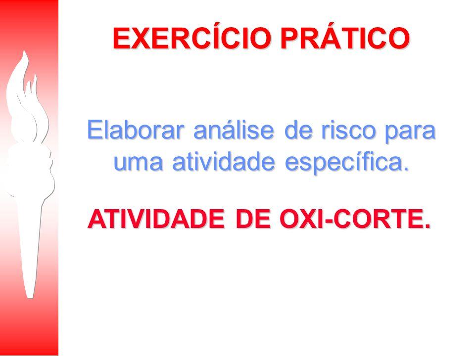 EXERCÍCIO PRÁTICO Elaborar análise de risco para uma atividade específica. ATIVIDADE DE OXI-CORTE.